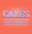 comical tasty 3d display font design alphabet vector image
