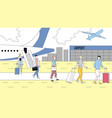 concept of air flights people exit from airplane