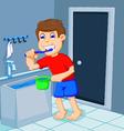 cute boy cartoon brushing teeth in bath room vector image