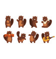 cute funny character beaver in different actions vector image vector image