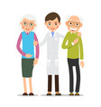doctor and patient young physician stands and vector image vector image