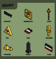egypt color outline isometric icons vector image vector image