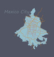 flat color map of mexico city mexico city plan of vector image vector image