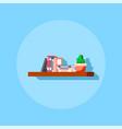flat style bookshelve icon vector image