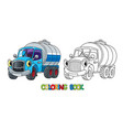 funny small milk truck with eyes coloring book vector image vector image