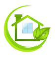 Green logo of eco house with leafs vector image vector image