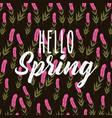 hello spring decorative flower hyacinth stem black vector image
