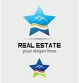 House real estate and star logo vector image vector image