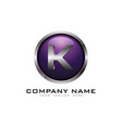 k 3d circle chrome letter logo icon design vector image vector image
