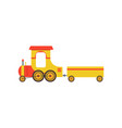 kids cartoon yellow toy cargo train railroad toy vector image vector image