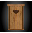 latrine toilet from wood with heart on doors eps10 vector image vector image