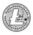litecoin coin black silhouette vector image vector image