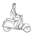 man driving scooter vector image vector image