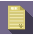 Medical recipe with hemp leaf icon flat style vector image vector image
