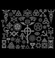 medieval occult signs and magic stamps silver vector image