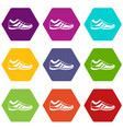 men sneakers icon set color hexahedron vector image vector image