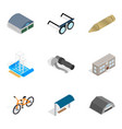 metal thing icons set isometric style vector image