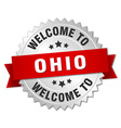 Ohio 3d silver badge with red ribbon vector image vector image