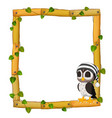 owl on the wood frame with roots and leaf vector image vector image