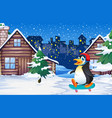 penguin playing skateboard in winter vector image vector image