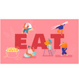 people eat chinese food concept tiny male and vector image vector image