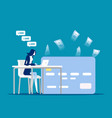 person with freelace on workplace online earn vector image