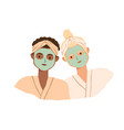 portrait two women with clay facial masks vector image