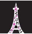 retro paris eiffel tower silhouette vector image