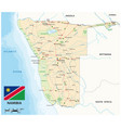 road map namibia with flag vector image vector image