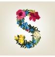 S letter Flower capital alphabet Colorful font vector image vector image