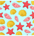 seamless pattern with aquatic nautical shellfish vector image