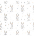 seamless pattern with cute white rabbits doodle vector image
