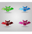 set of cute funny multi colored bats isolated on vector image vector image