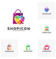 set of love shop logo template design vector image vector image