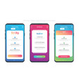 Set of of 3 smart-phones with pricing table vector image