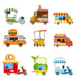 set street food car vehicles buses minivans vector image vector image