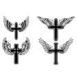 set winged christian religious crosses vector image vector image