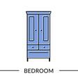 wardrobe bedroom or living furniture line icon vector image
