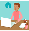 woman working on his laptop in flat retro style vector image vector image