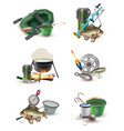 fishing gear accessories 6 icons set vector image