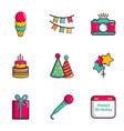 birthday equipment icons set flat style vector image