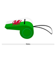 A Dragon on White and Green Whistle of Wales vector image
