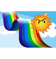A sun frowning near the rainbow vector image vector image