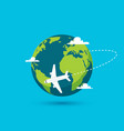 airplane earth world globe icon plane vector image