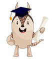 armadillo with diploma on white background vector image vector image