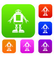 automation machine robot set color collection vector image vector image