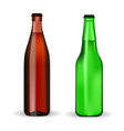 beer bottles brown and green glass vector image