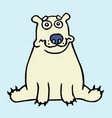 cartoon lonely polar bear sitting and looking vector image vector image