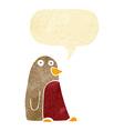 cartoon robin with speech bubble vector image vector image