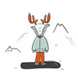 childish deer on snowboard cartoon winter sketch vector image vector image